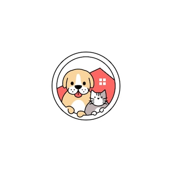 Pet dog cat house in the circle logo vector icon illustration