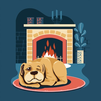 Pet dog sleeping by the fireplace