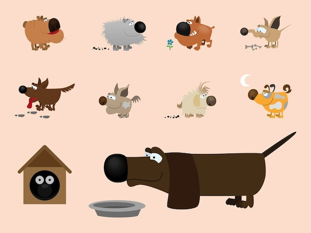 Pet dogs illustrations