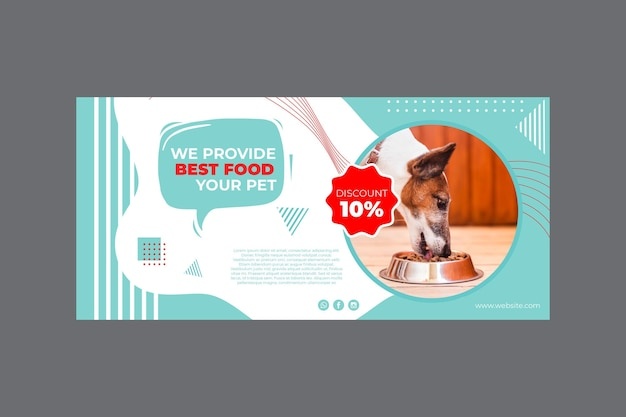 Pet food banner template with photo