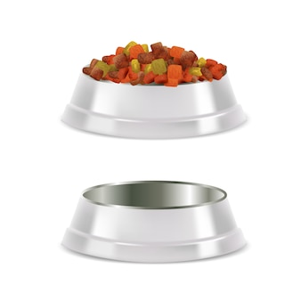 Pet food bowl set vector realistic illustration