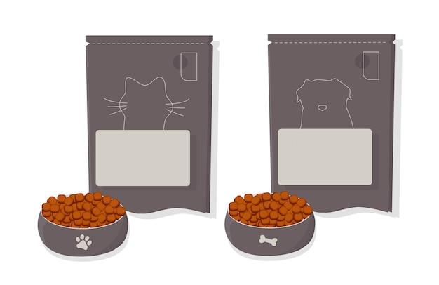 고양이와 개를 위한 애완 동물 사료. 그릇, 포장, 광고. 평면 그림