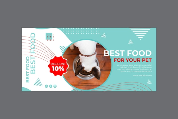 Pet food horizontal banner template with photo