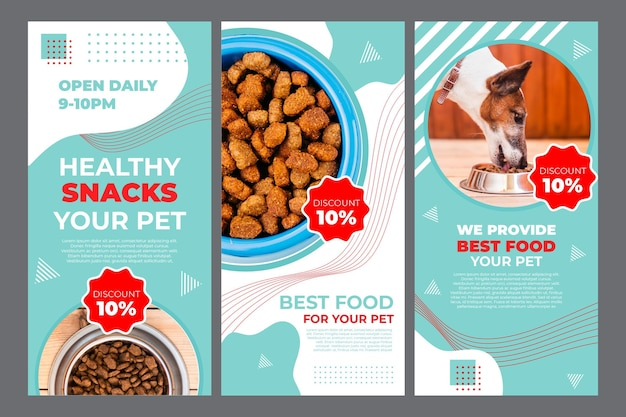 Pet food instagram stories template with photo