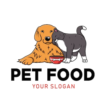 Pet food mascot logo. food for dogs and cat.