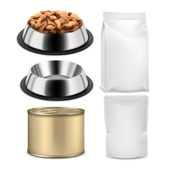 Pet food plate and blank bags packages set