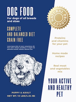 Pet food product label template abstract vector packaging design layout modern typography banner wit...