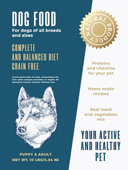 Pet food product label template. abstract vector packaging design layout. modern typography banner with hand drawn husky dog sketch face background. isolated.
