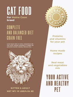 Pet food product label template. abstract vector packaging design layout. modern typography banner with hand drawn maine coon cat breed sketch face background. isolated