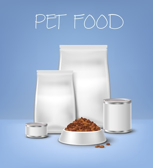 Pet food realistic vector packaging and feed bowl