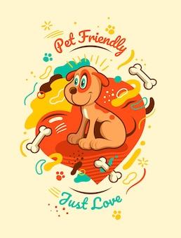 귀여운 강아지와 함께 애완 동물 친화적 인 카드 디자인.