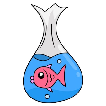 Pet goldfish in a plastic bag. carton emoticon. doodle icon drawing, vector illustration