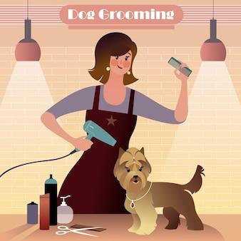 Pet groomer девушка расчесывает и сушит жесткошерстную собаку.