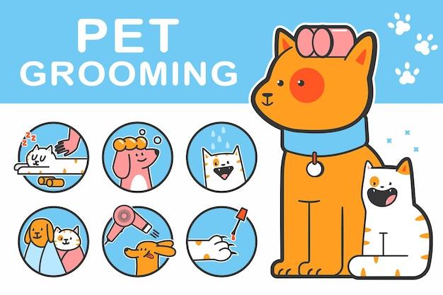 귀여운 강아지와 고양이 캐릭터가 있는 애완동물 미용 만화 삽화.