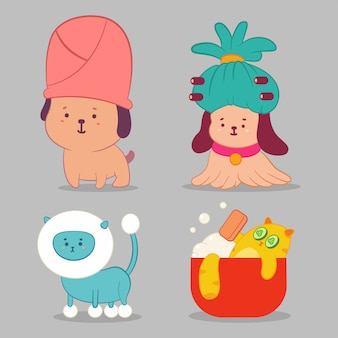 Pet grooming concept illustration with cute dog and cat characters set isolated on background.