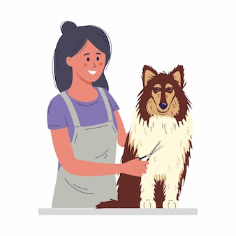Pet grooming concept a young woman cuts a dogs fur  illustration