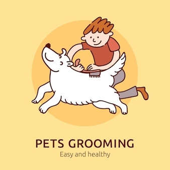 Toelettatura animali domestici facile e salutare, illustrazione per proprietari di cani e gatti piatti