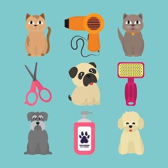 애완 동물 미용 아이콘 세트