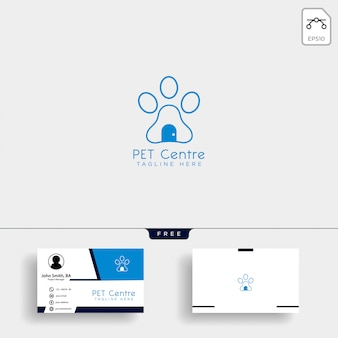 Pet home or store creative logo template with business card
