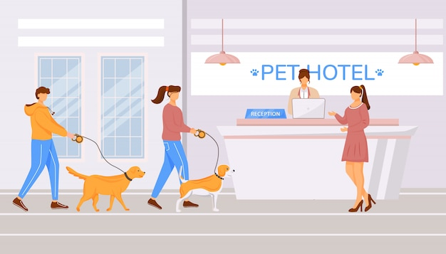 Pet hotel hall flat color illustration
