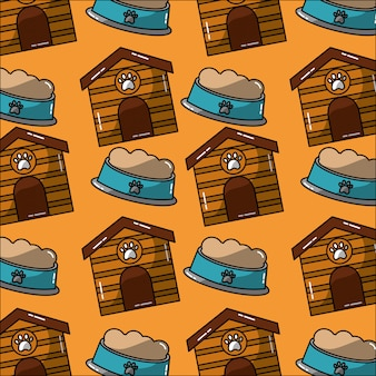 Pet house and bowl food seamless pattern