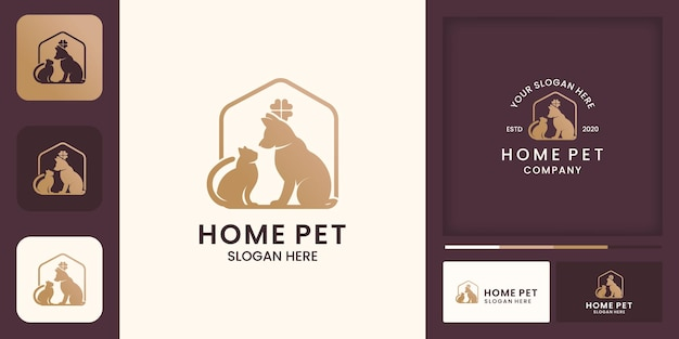 Pet house logo design, happy pet, and business card