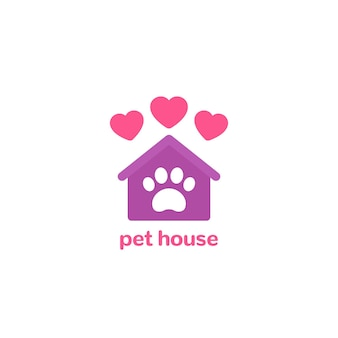 Pet house logo, paw and home with hearts