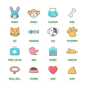 Pet line icons with flat colors