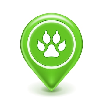Значок местоположения домашних животных с отпечатком лапы