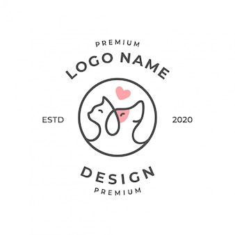 Pet logo concept with line art style.