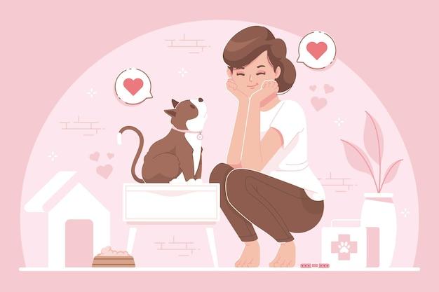 애완 동물 애인 평면 디자인 일러스트 배경
