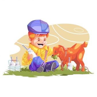Любитель домашних животных. маленький ребенок любящий козу. кормление питомца
