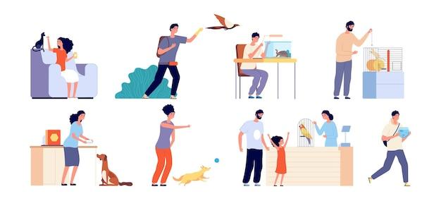 애완 동물 주인. 애완 동물을 가진 여자, 개 입양. 사람과 야생 또는 가축 장면. 고양이, 새 또는 파충류 벡터 일러스트와 함께 인간. 애완 동물, 새와 강아지, 앵무새와 거북이가있는 캐릭터