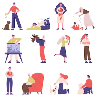 Pet owners. people with domestic animals, cat, dog, fish and bird, men and women play, walk and hug pets set