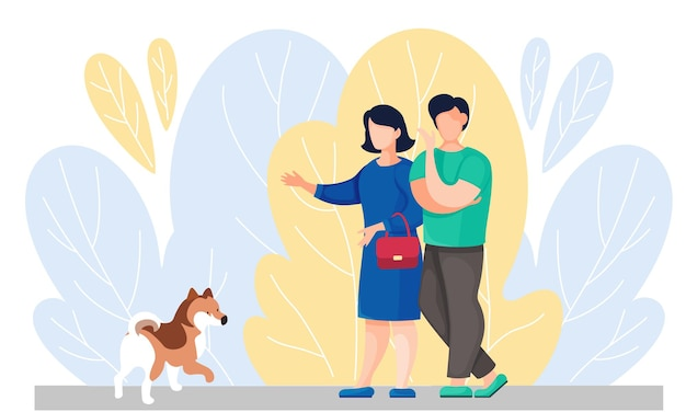 Pet owners spend time with their dog