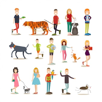 Pet owners with their animals  flat  set