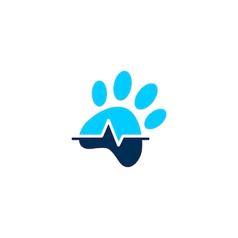 Pet paw clinic health logo vector icon