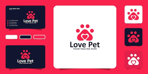 Pet paw and heart logo design inspiration and business card