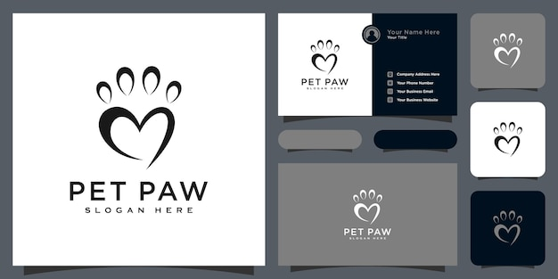 Pet paw logo vector abstract design and business card
