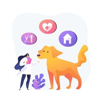 애완 동물 서비스 추상적 인 개념 그림. 애완 동물 돌보기 및 탑승 서비스, 동물 돌보기 서비스, 개 산책, 미용 살롱, 보육 및주의, 교통