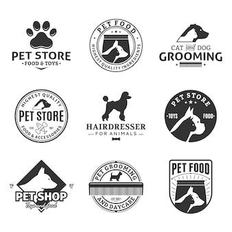 Значки логотипа услуг для домашних животных и элементы дизайна