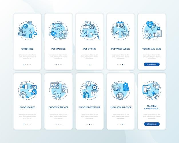 개념이 설정된 애완 동물 서비스 온 보딩 모바일 앱 페이지 화면