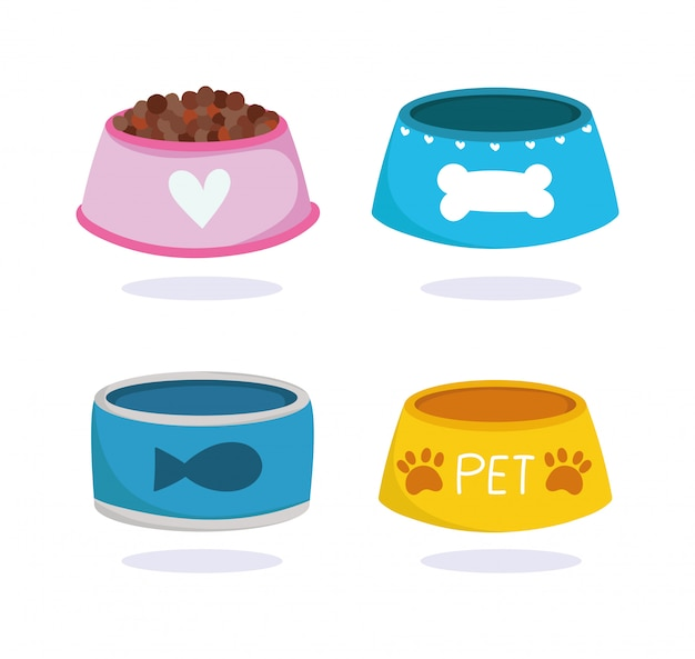 Pet shop, animal domestic cartoon food in bowls for dog and cat vector illustration