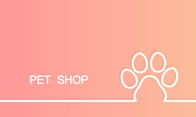 Pet shop banner. dog footprint. animal clinic. vector on isolated background. eps 10.