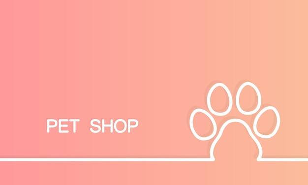애완 동물 가게 배너입니다. 강아지 발자국. 동물병원. 격리 된 배경에 벡터입니다. eps 10.