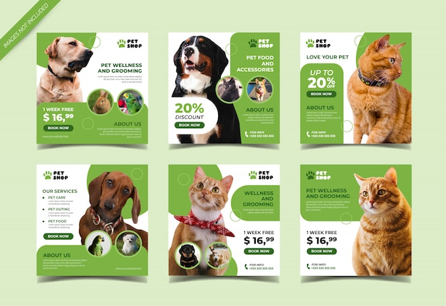 Pet shop banner for social media post template