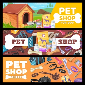 ペットショップのバナー、犬のペットケアアイテム、おもちゃ。犬の子犬のための動物園ショップグッズとベクトル広告プロモーションカード。家畜用飼料、ブース、骨と衣服、銃口と首輪付きのひも