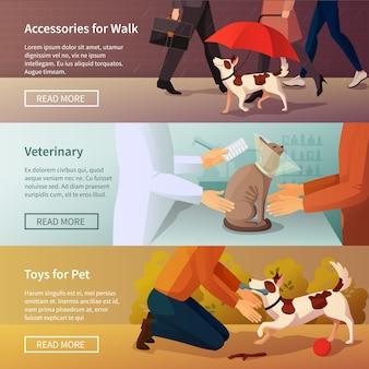 Pet shop banners set