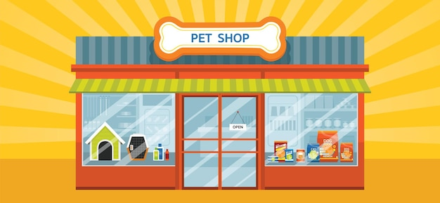 Pet shop building with products and equipments inside the store