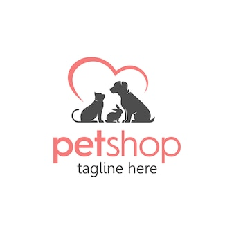Pet shop care simple logo